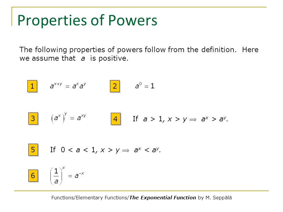 Properties of Powers 1 1 2 2 3 3 4 4 If a > 1, x > y a x > a y. 5 5 If 0 y a x < a y. 6 6 The following properties of powers follow from the definitio