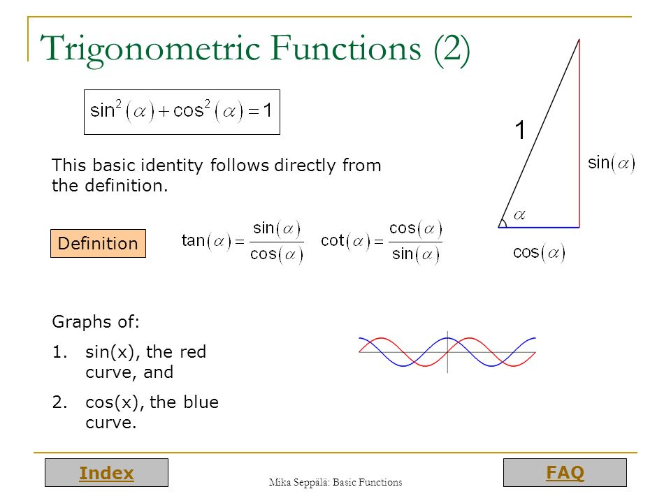 Index FAQ Mika Seppälä: Basic Functions Trigonometric Functions (2) Definition This basic identity follows directly from the definition. Graphs of: 1.