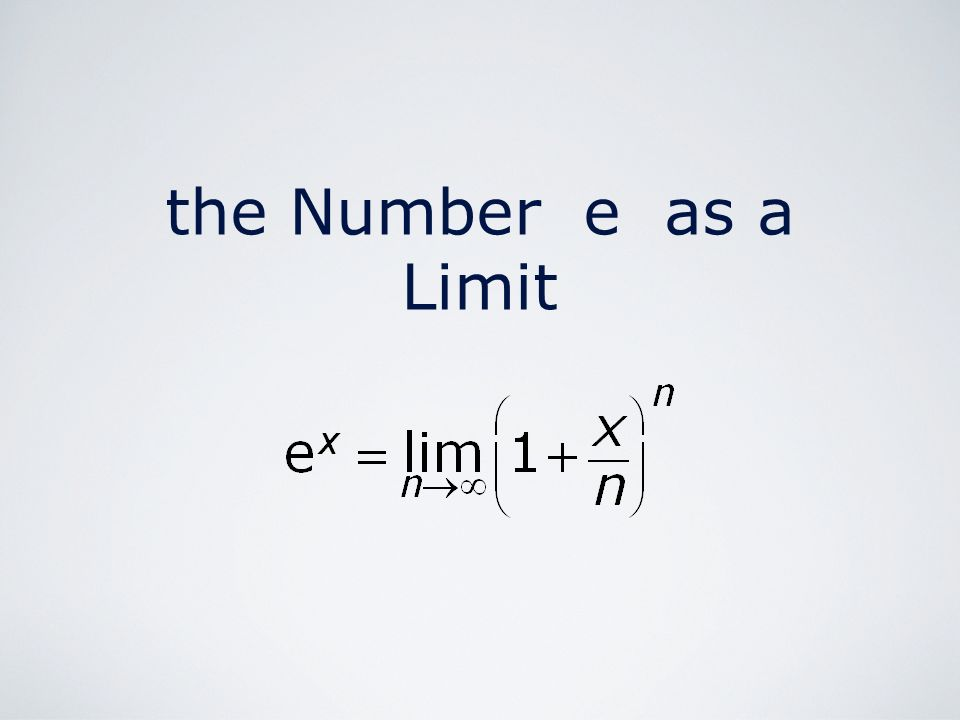 the Number e as a Limit