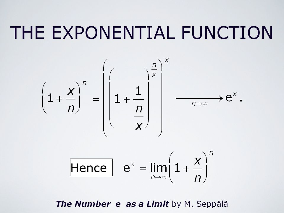 The Number e as a Limit by M. Seppälä Hence THE EXPONENTIAL FUNCTION