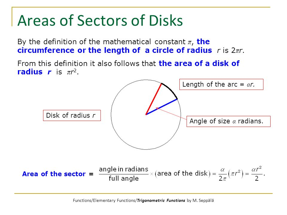 Areas of Sectors of Disks By the definition of the mathematical constant π, the circumference or the length of a circle of radius r is 2 π r. From thi