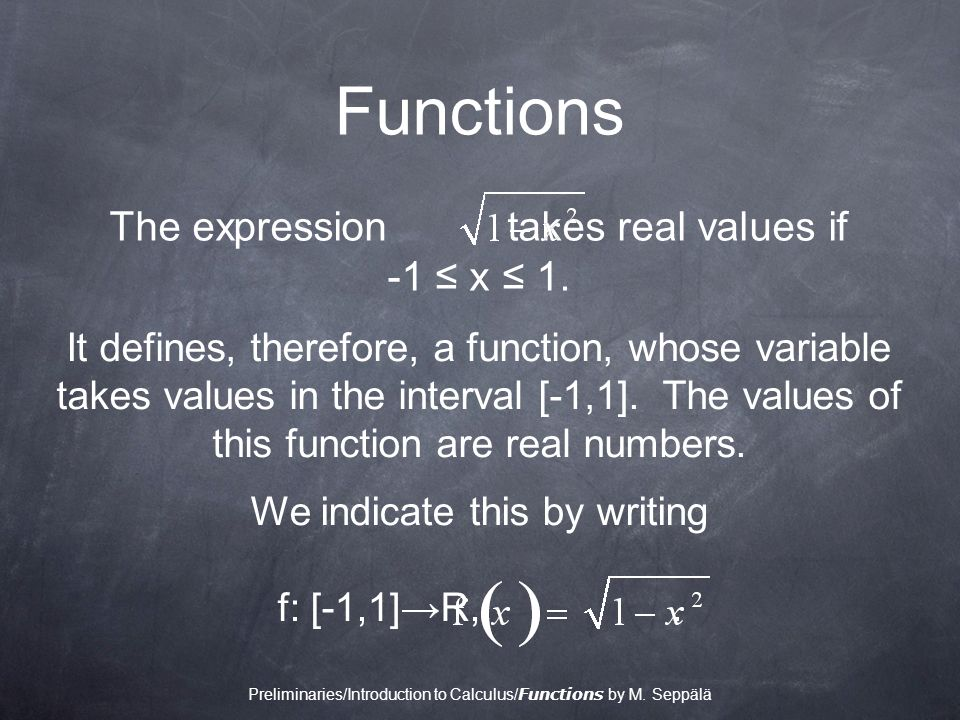 Functions It defines, therefore, a function, whose variable takes values in the interval [-1,1].