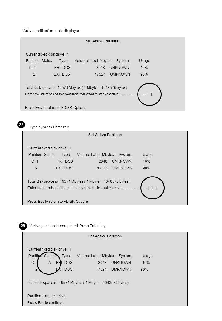 Sat Active Partition Current fixed disk drive : 1 Partition Status Type Volume Label Mbytes System Usage C: 1 PRI DOS 2048 UNKNOWN 10% 2 EXT DOS 17524