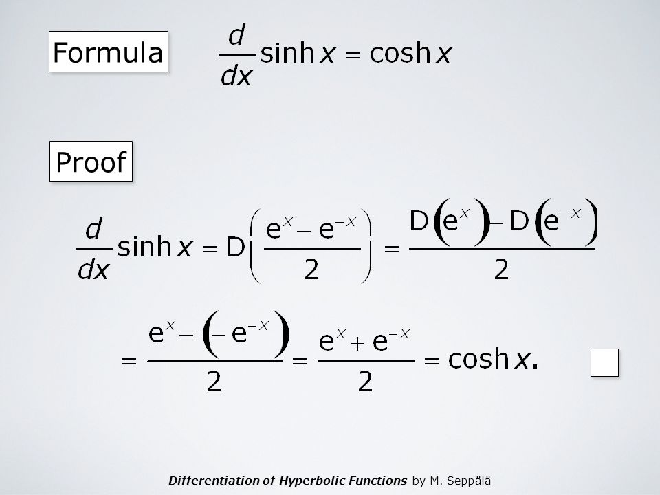 Differentiation of Hyperbolic Functions by M. Seppälä Formula Proof