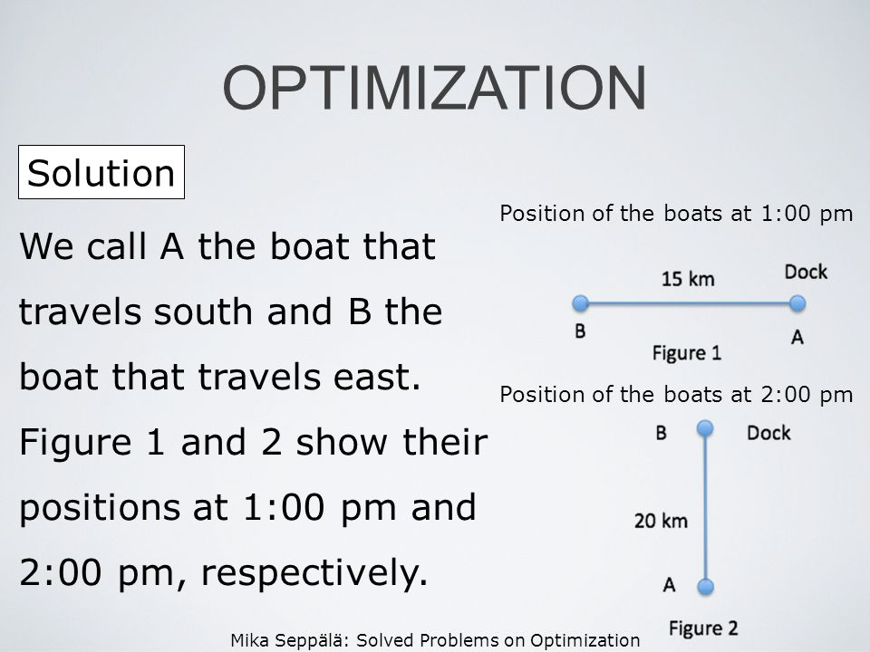 Mika Seppälä: Solved Problems on Optimization Solution OPTIMIZATION Position of the boats at 1:00 pm We call A the boat that travels south and B the b
