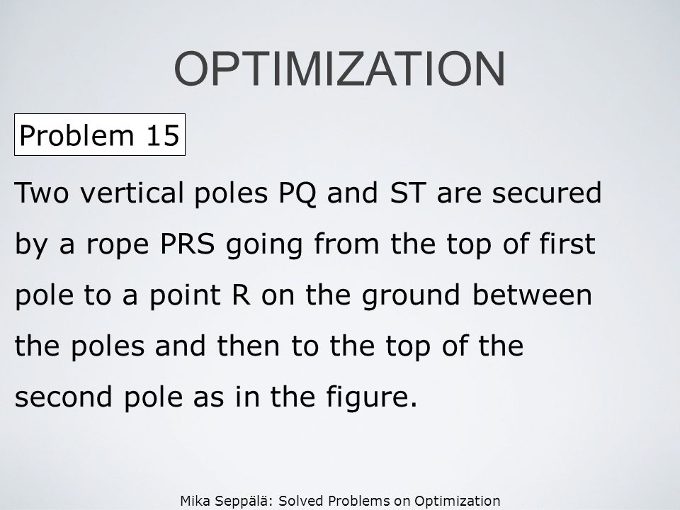 Mika Seppälä: Solved Problems on Optimization OPTIMIZATION Problem 15 Two vertical poles PQ and ST are secured by a rope PRS going from the top of fir