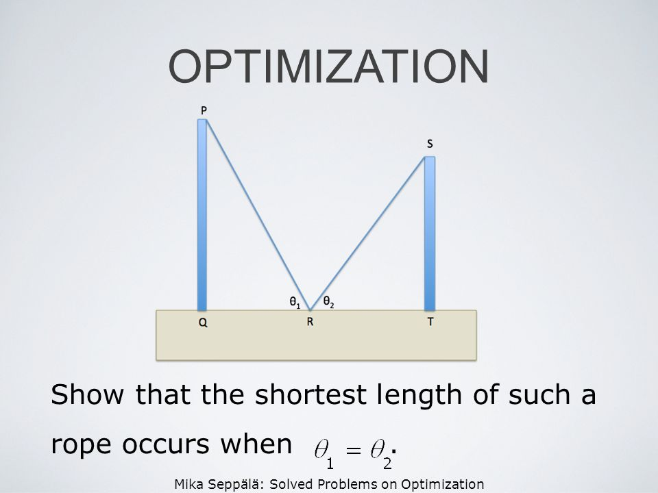 Mika Seppälä: Solved Problems on Optimization OPTIMIZATION Show that the shortest length of such a rope occurs when.