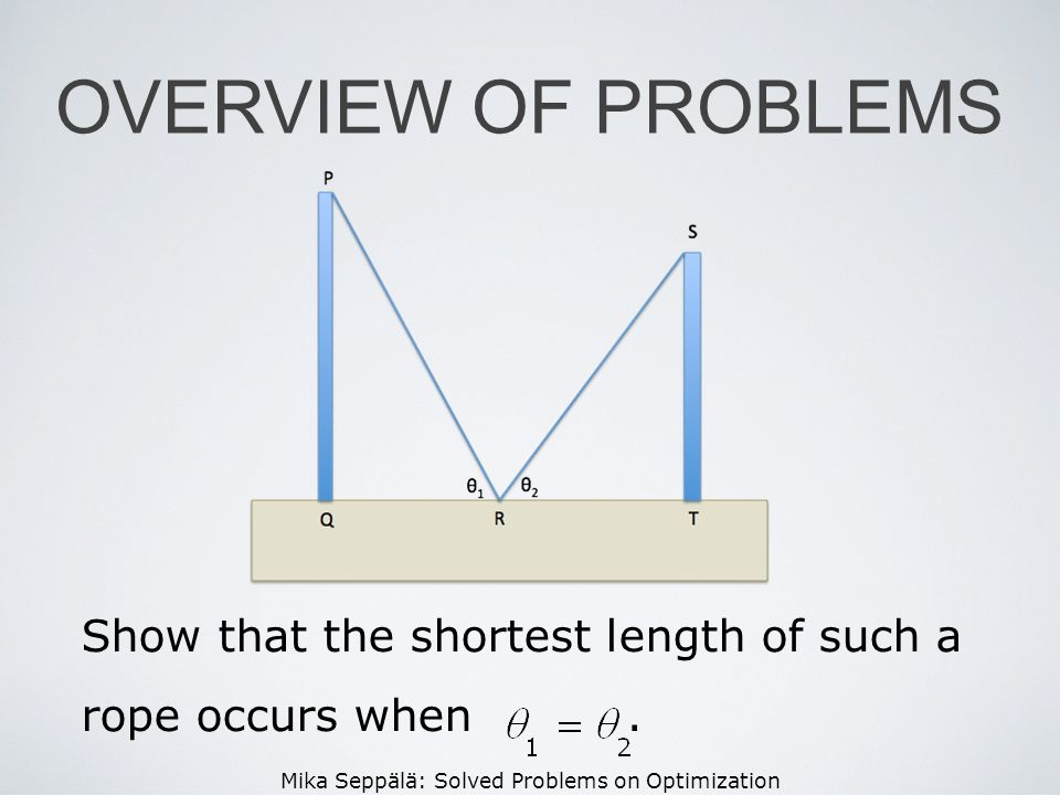 Mika Seppälä: Solved Problems on Optimization OVERVIEW OF PROBLEMS Show that the shortest length of such a rope occurs when.