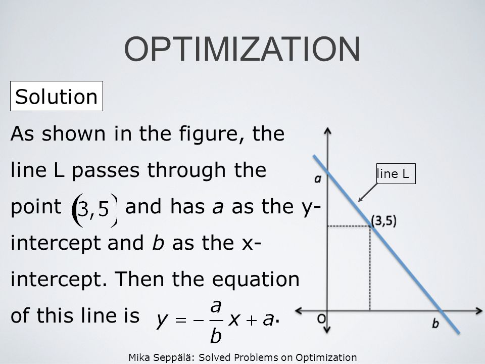 Mika Seppälä: Solved Problems on Optimization Solution OPTIMIZATION As shown in the figure, the line L passes through the point and has a as the y- in