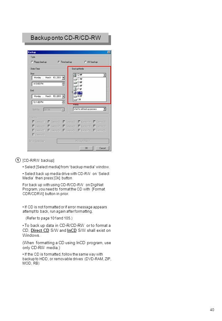 40 Backup onto CD-R/CD-RW [CD-R/RW backup] Select [Select media] from backup media window. Select back up media drive with CD-RW on Select Media then