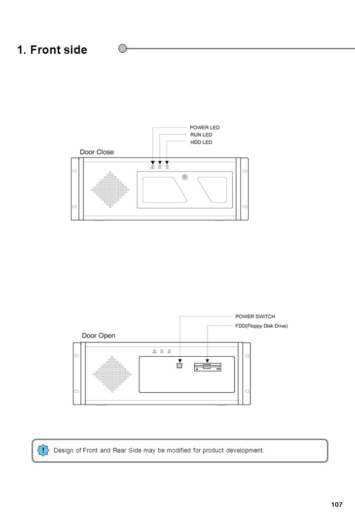 107 1. Front side ! Design of Front and Rear Side may be modified for product development.