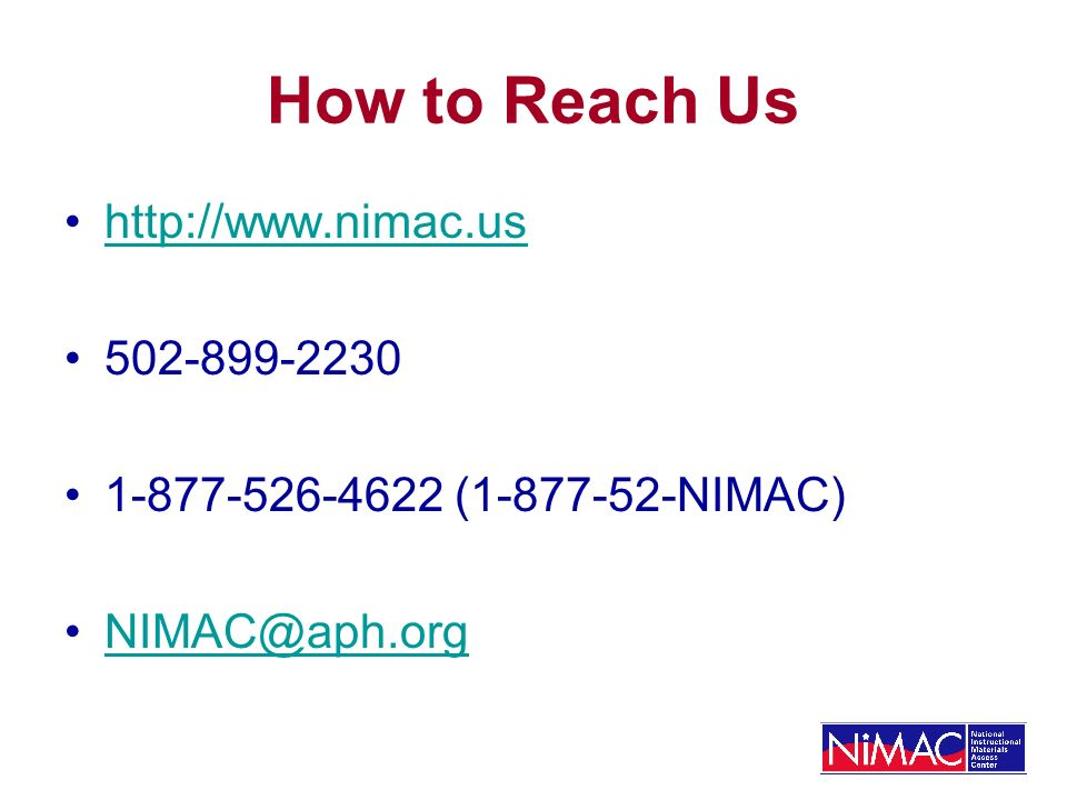 How to Reach Us ( NIMAC)