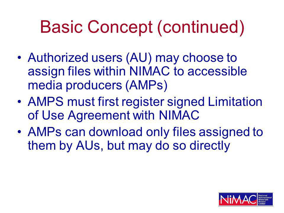 Basic Concept (continued) Authorized users (AU) may choose to assign files within NIMAC to accessible media producers (AMPs) AMPS must first register signed Limitation of Use Agreement with NIMAC AMPs can download only files assigned to them by AUs, but may do so directly