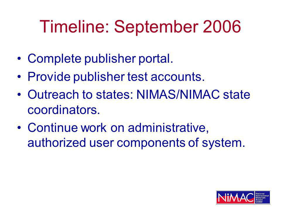 Timeline: September 2006 Complete publisher portal. Provide publisher test accounts. Outreach to states: NIMAS/NIMAC state coordinators. Continue work