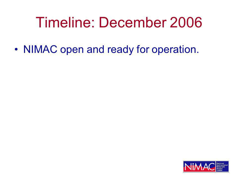 Timeline: December 2006 NIMAC open and ready for operation.