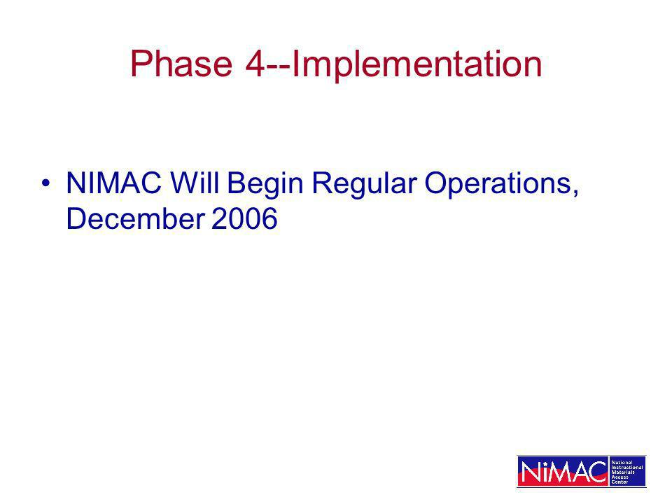 Phase 4--Implementation NIMAC Will Begin Regular Operations, December 2006
