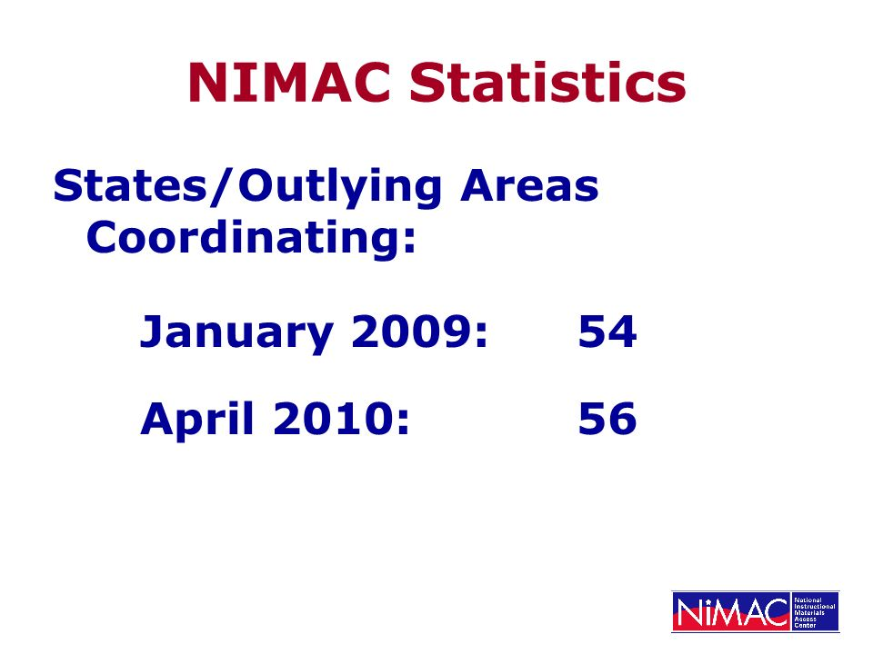 NIMAC Statistics States/Outlying Areas Coordinating: January 2009: 54 April 2010:56