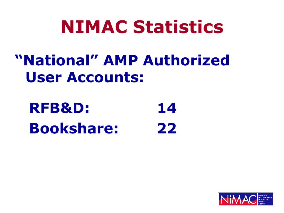 NIMAC Statistics National AMP Authorized User Accounts: RFB&D:14 Bookshare:22