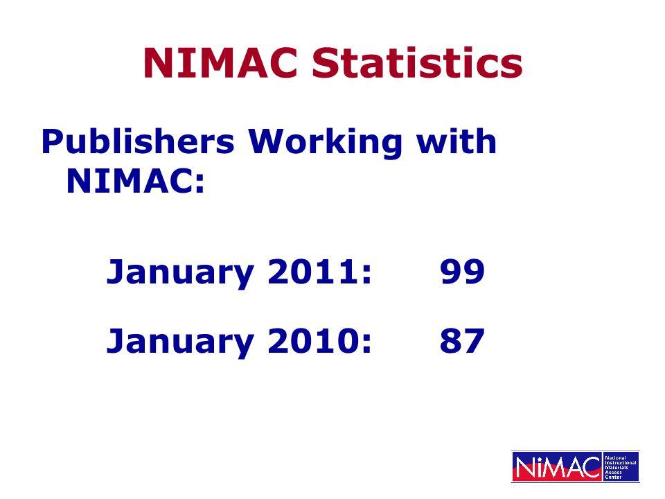 NIMAC Statistics Publishers Working with NIMAC: January 2011: 99 January 2010:87
