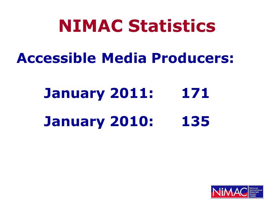 NIMAC Statistics Accessible Media Producers: January 2011: 171 January 2010:135