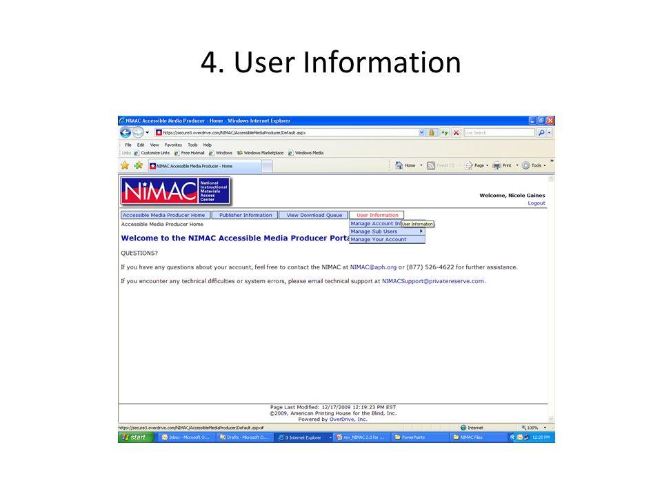 4. User Information