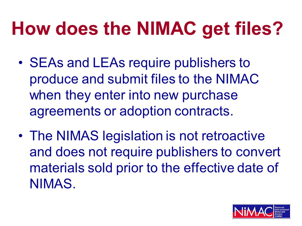 How does the NIMAC get files.