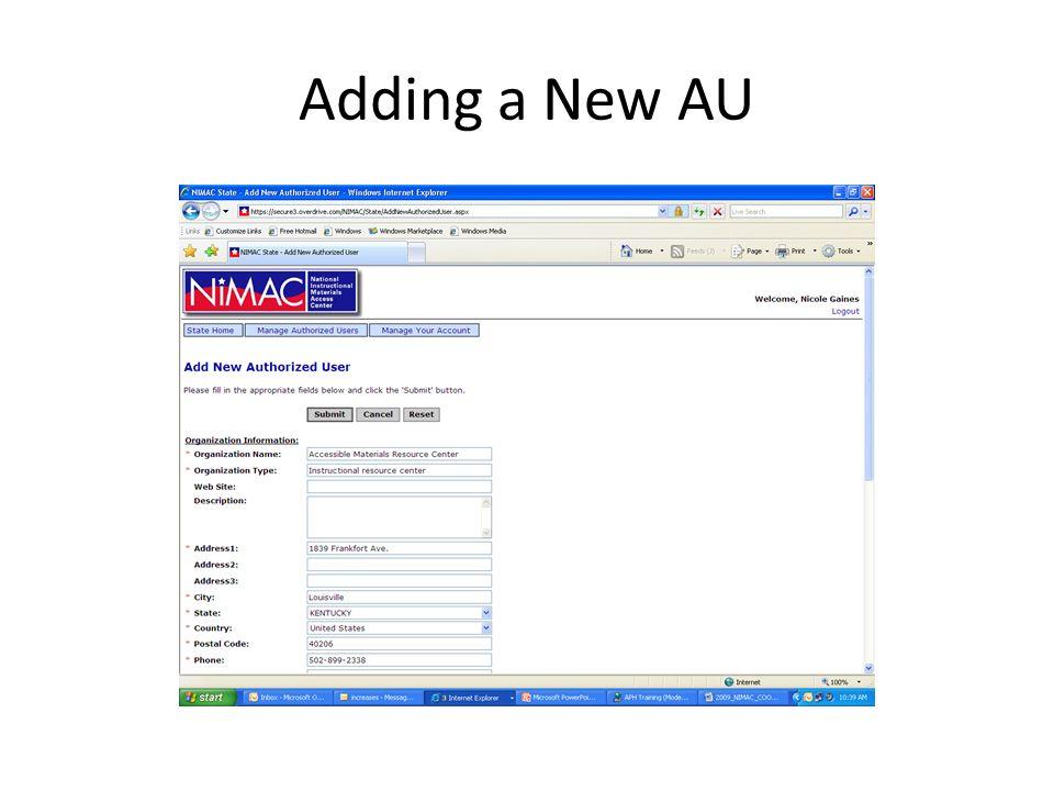 Adding a New AU