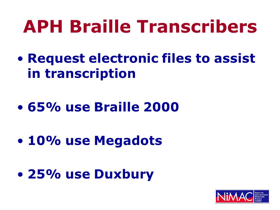 APH Braille Transcribers Request electronic files to assist in transcription 65% use Braille % use Megadots 25% use Duxbury