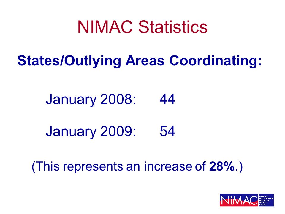 NIMAC Statistics States/Outlying Areas Coordinating: January 2008: 44 January 2009:54 (This represents an increase of 28%.)