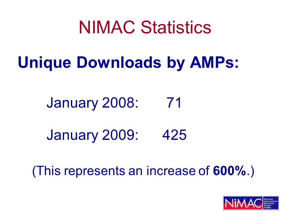 NIMAC Statistics Unique Downloads by AMPs: January 2008: 71 January 2009:425 (This represents an increase of 600%.)