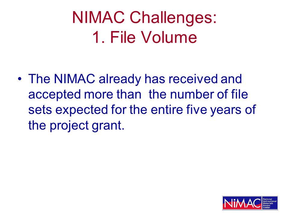 NIMAC Challenges: 1.