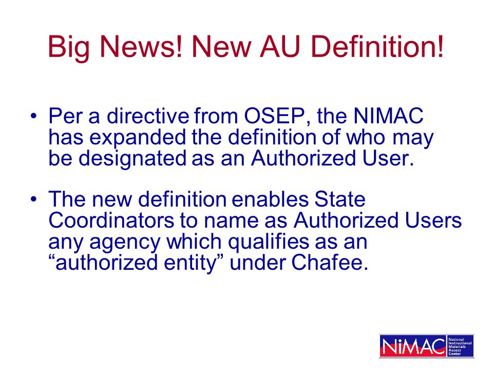 Big News. New AU Definition.