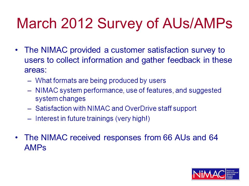 March 2012 Survey of AUs/AMPs The NIMAC provided a customer satisfaction survey to users to collect information and gather feedback in these areas: –W