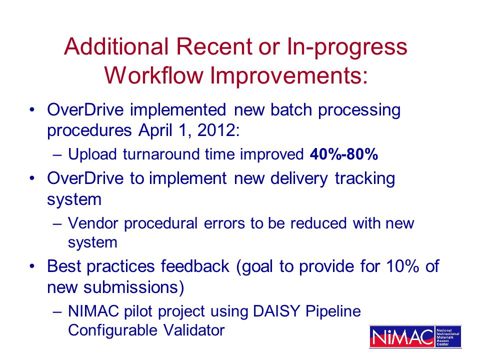 Additional Recent or In-progress Workflow Improvements: OverDrive implemented new batch processing procedures April 1, 2012: –Upload turnaround time i