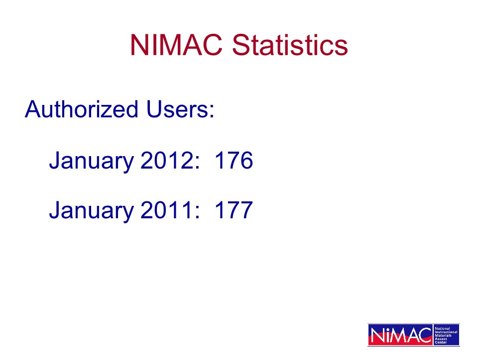 NIMAC Statistics Authorized Users: January 2012: 176 January 2011: 177