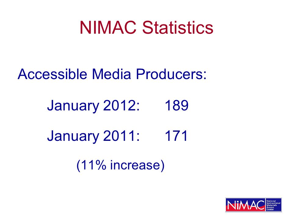 NIMAC Statistics Accessible Media Producers: January 2012: 189 January 2011:171 (11% increase)