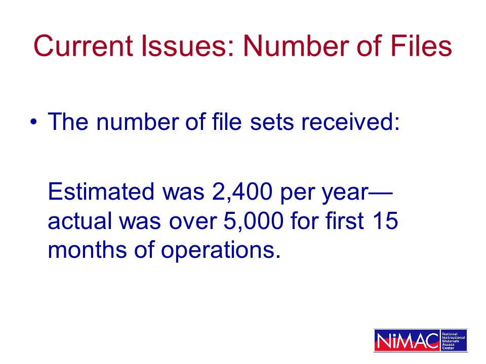 Current Issues: Number of Files The number of file sets received: Estimated was 2,400 per year actual was over 5,000 for first 15 months of operations.