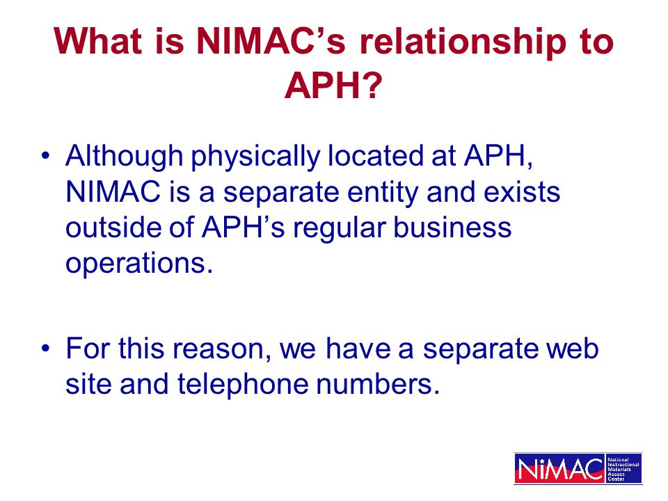 What is NIMACs relationship to APH.