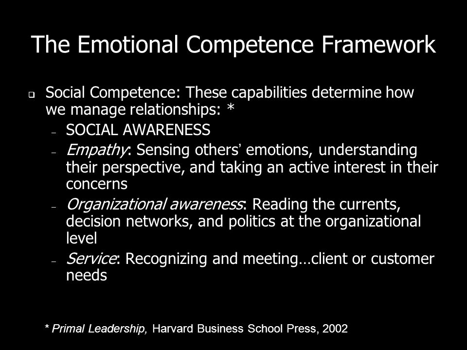 The Emotional Competence Framework Social Competence: These capabilities determine how we manage relationships: * – SOCIAL AWARENESS – Empathy: Sensing others emotions, understanding their perspective, and taking an active interest in their concerns – Organizational awareness: Reading the currents, decision networks, and politics at the organizational level – Service: Recognizing and meeting…client or customer needs * Primal Leadership, Harvard Business School Press, 2002