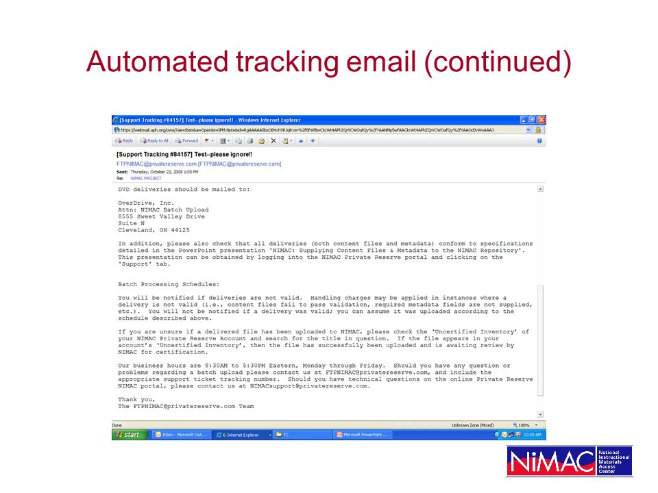Automated tracking email (continued)