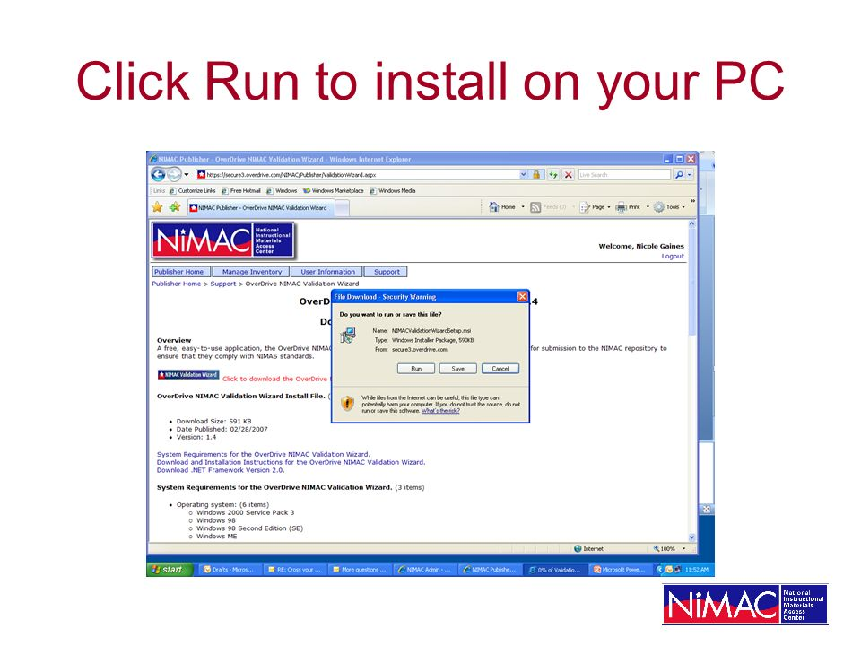 Click Run to install on your PC