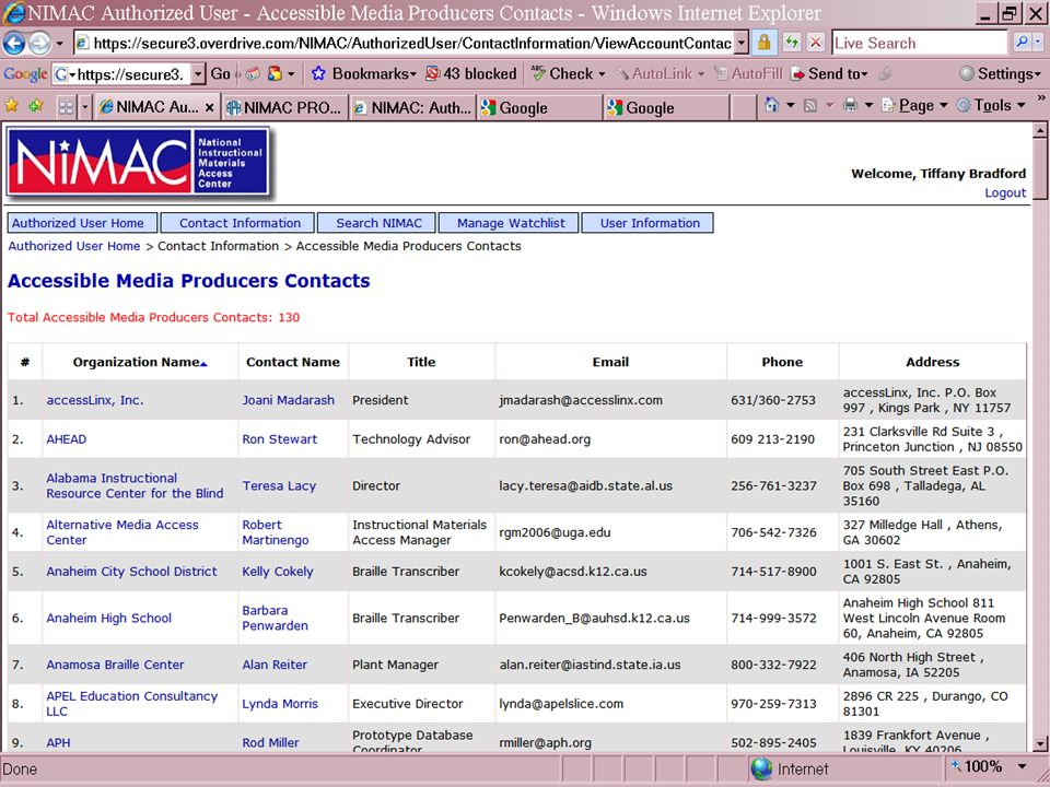 Accessible Media Producers 35www.nimac.us All registered AMPs are shown on the page.