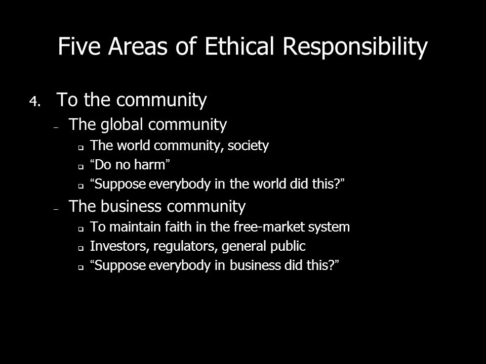 Five Areas of Ethical Responsibility 4.