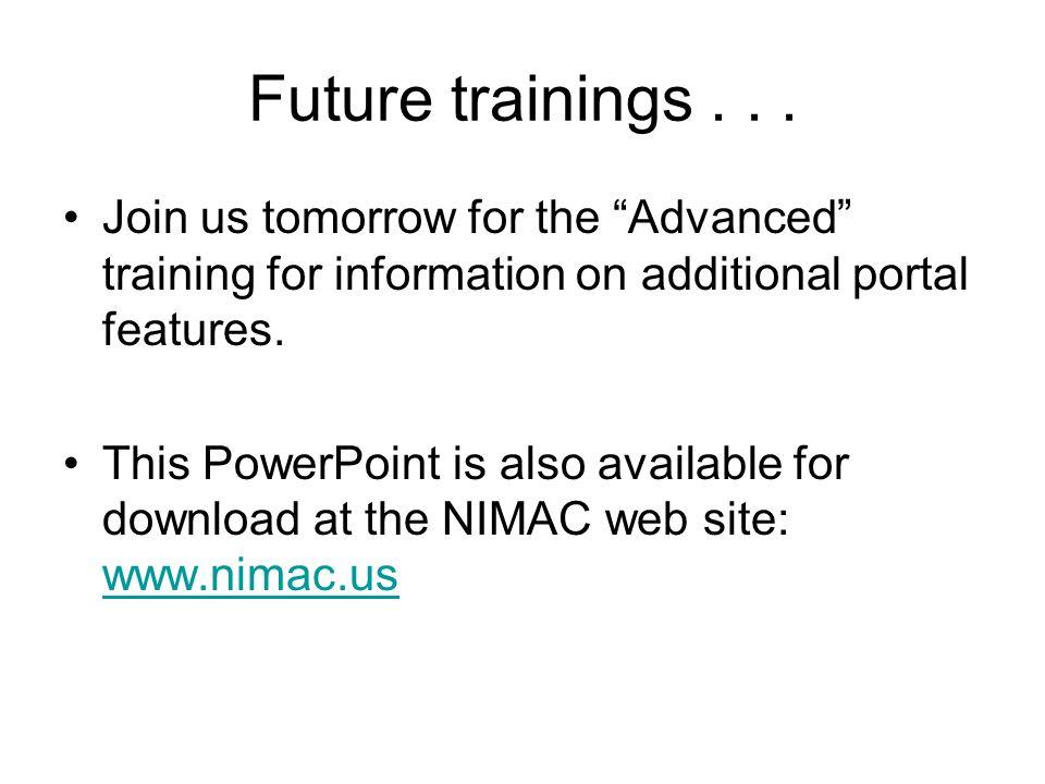 Future trainings...