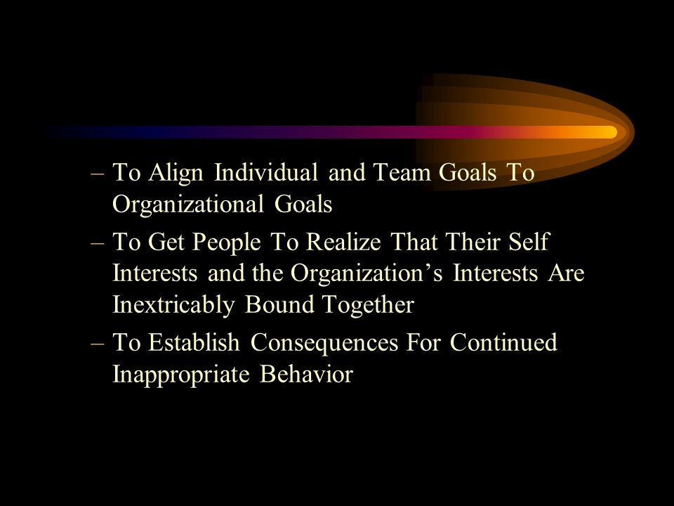 –To Align Individual and Team Goals To Organizational Goals –To Get People To Realize That Their Self Interests and the Organizations Interests Are Inextricably Bound Together –To Establish Consequences For Continued Inappropriate Behavior