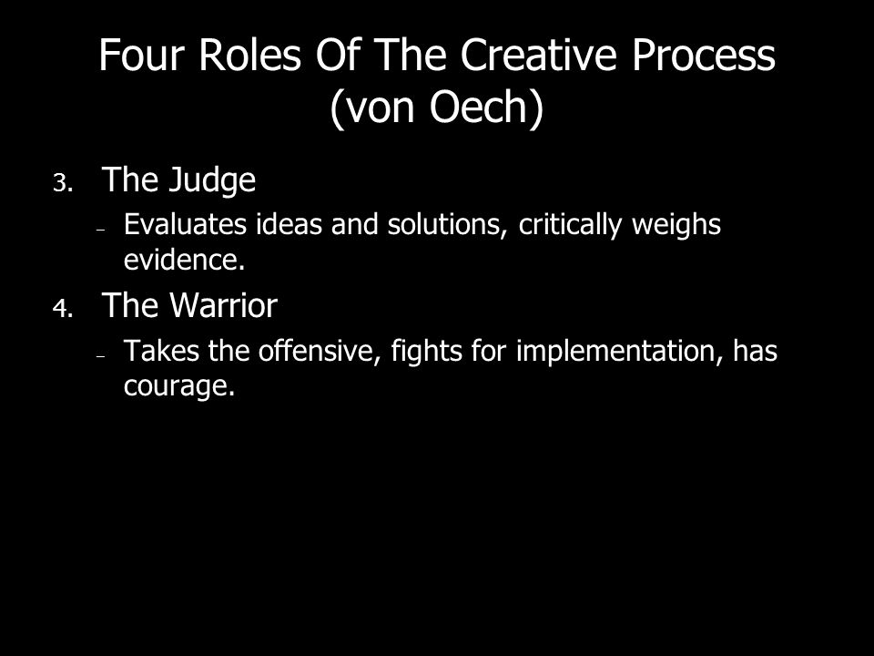 Four Roles Of The Creative Process (von Oech) 3.
