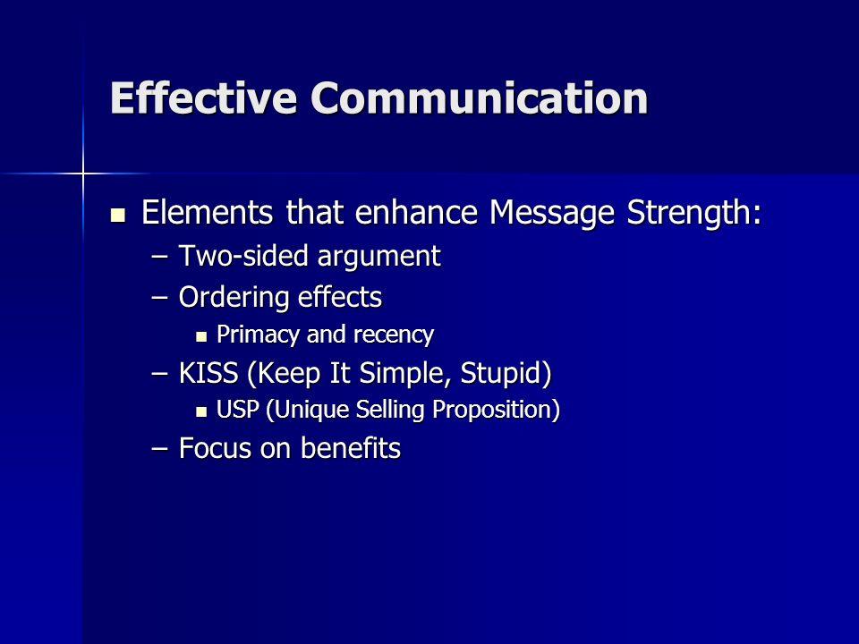 Effective Communication Elements that enhance Source Credibility: Elements that enhance Source Credibility: –Trustworthiness –Competence –Objectivity