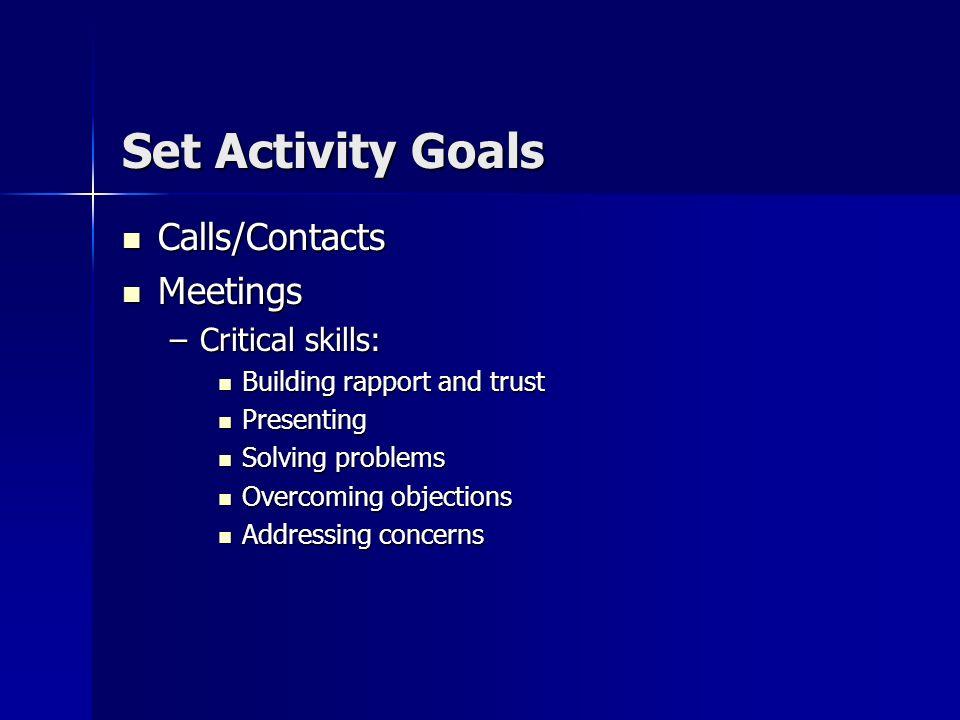 Goals Set time-spent goals for the five steps of selling. For example: Set time-spent goals for the five steps of selling. For example: –Prospecting 1
