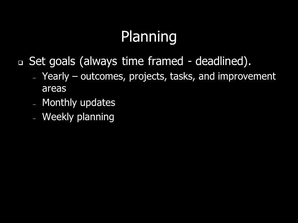 Planning Set goals (always time framed - deadlined).