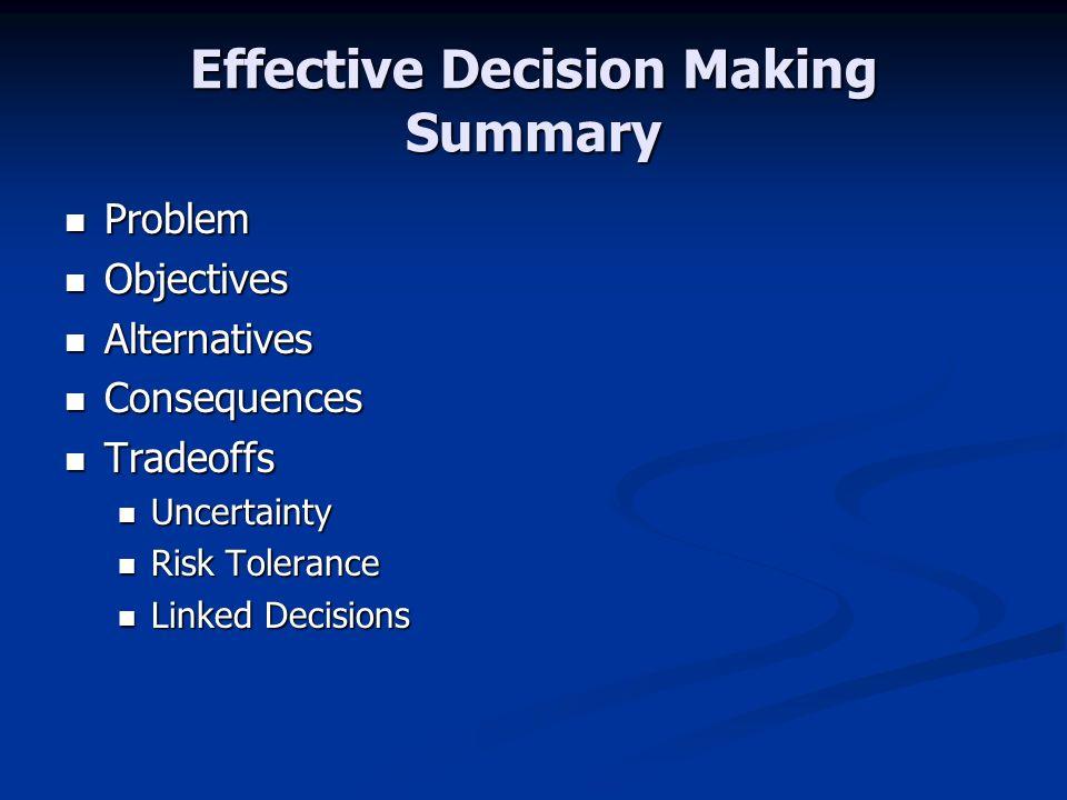 Effective Decision Making Summary Problem Problem Objectives Objectives Alternatives Alternatives Consequences Consequences Tradeoffs Tradeoffs Uncert